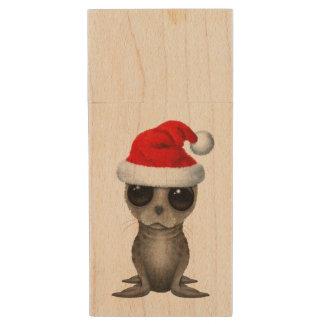 Baby Seal Wearing a Santa Hat Wood USB Flash Drive