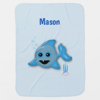 Baby Shark with Name Baby Blanket