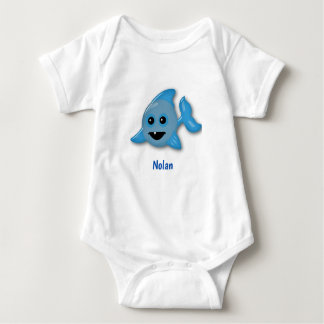 Baby Shark with Name Baby Bodysuit