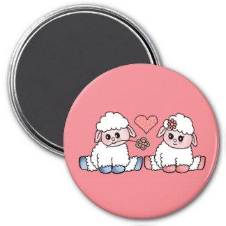 baby sheep 7.5 cm round magnet