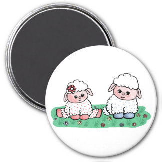 baby sheeps 7.5 cm round magnet