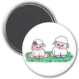 baby sheeps 7.5 cm round magnet