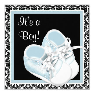 Baby Shoes Black and Blue Damask Baby Boy Shower Card