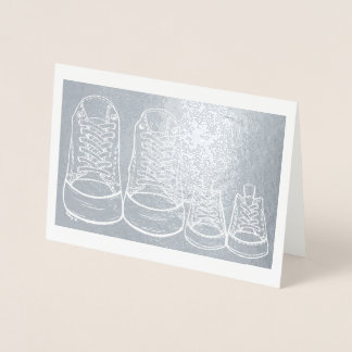 Baby Shoes New Arrival Congratulations New Baby Foil Card