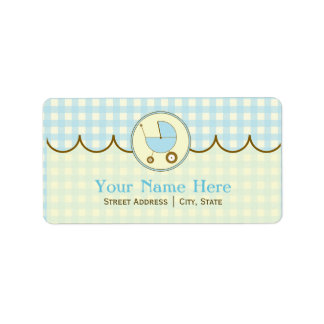 Baby Shower Address Label- Blue Gingham & Brown Address Label