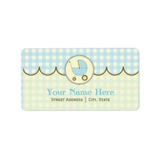 Baby Shower Address Label- Blue Gingham & Brown Address Label