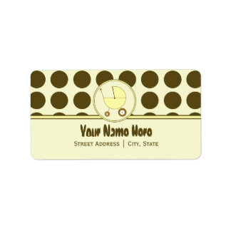 Baby Shower Address Label- Brown Dots & Yellow Address Label