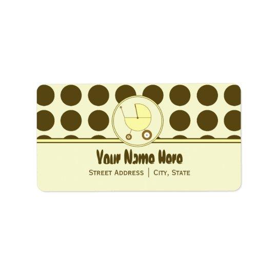 Baby Shower Address Label- Brown Dots & Yellow Address Label