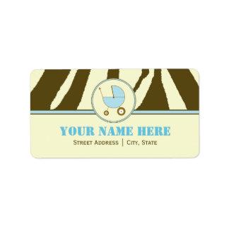 Baby Shower Address Label- Brown Zebra Print Blue Address Label