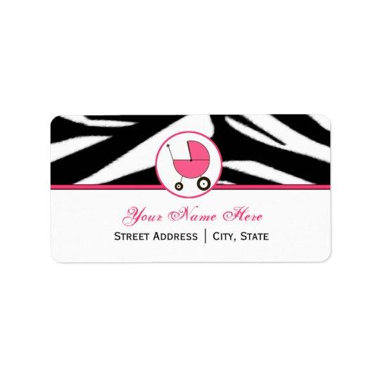 Baby Shower Address Label - Zebra Print and Pink