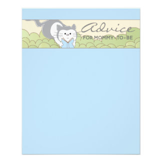 "Baby Shower Advice Card ""Blue Cat Storybook"""