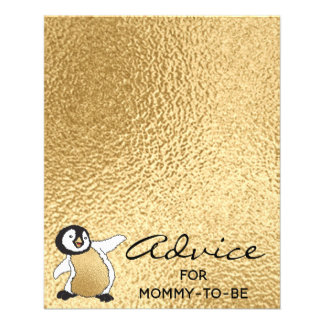 """Baby Shower Advice Card """"Gold Baby Penguin"""""""