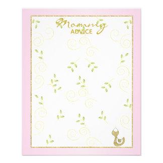 "Baby Shower Advice Card ""Gold Pink Birds"""