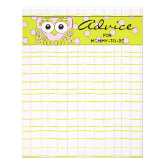 "Baby Shower Advice Card ""Pink Green Owl"""