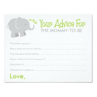 Baby Shower Advice Cards | Elephant Gray and Green 11 Cm X 14 Cm Invitation Card
