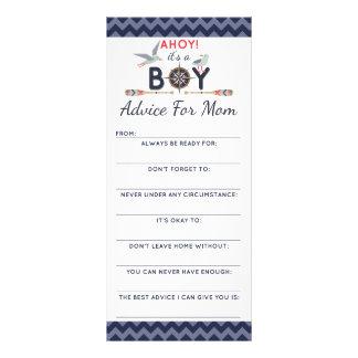 Baby Shower Advice Game Nautical Sailboat Ahoy Boy Rack Card