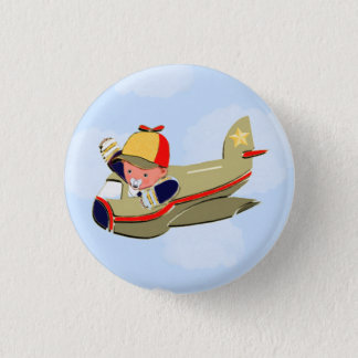 Baby Shower Airplane 3 Cm Round Badge