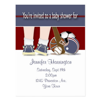 Baby Shower All Sports Invitation Template Postcard