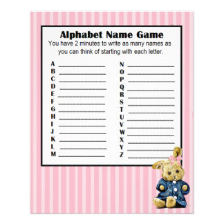 Baby Shower Alphabet Name BINGO Game Bunny 11.5 Cm X 14 Cm Flyer