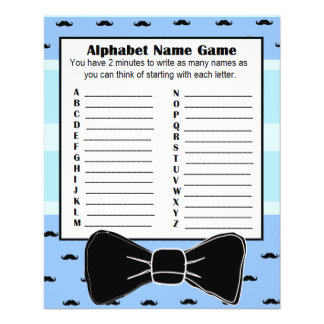 Baby Shower Alphabet Name BINGO Game  Mustache Flyer