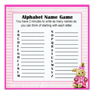 Baby Shower Alphabet Name & Bingo Game Pink Bunny Card