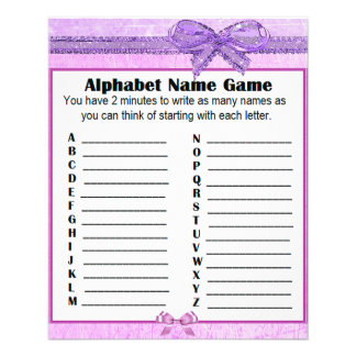Baby Shower Alphabet Name Game Purple Lavender Flyer