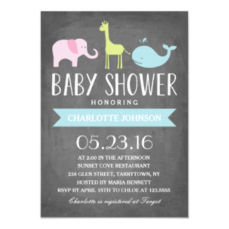Baby Shower Animals | Baby Shower 13 Cm X 18 Cm Invitation Card