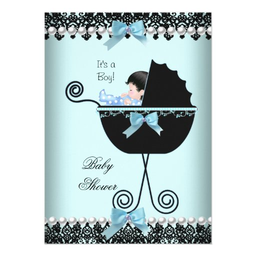 Baby Shower Baby Boy Blue Teal Black Lace 2 Personalized Invitations