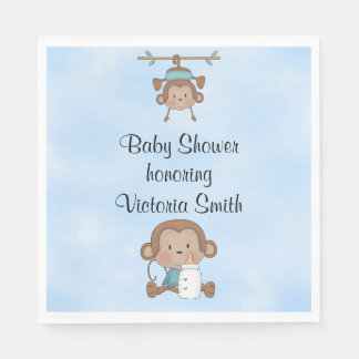 Baby Shower Baby Boy Monkey Disposable Napkin