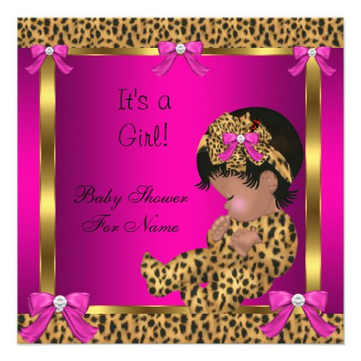 Baby Shower Baby Cute Girl Leopard Pink Gold 2 Custom Invitations