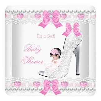 Baby Shower Baby Girl Pink White Lace Heart Shoe 13 Cm X 13 Cm Square Invitation Card