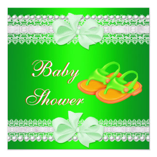 Baby Shower Baby Lime Green Yellow Shoes 13 Cm X 13 Cm Square Invitation Card