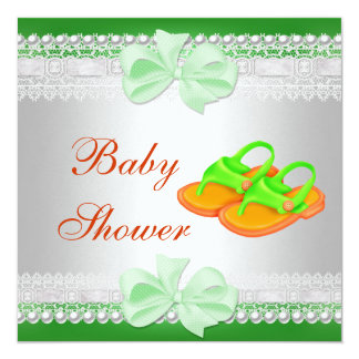 Baby Shower Baby Lime Green Yellow Shoes 2 13 Cm X 13 Cm Square Invitation Card