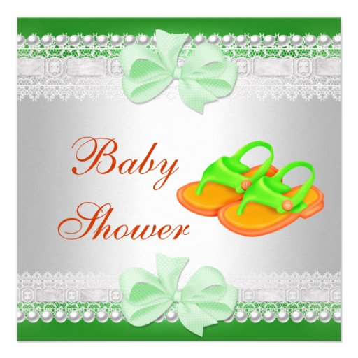 Baby Shower Baby Lime Green Yellow Shoes 2 Announcements