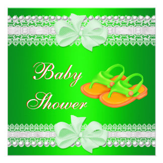 Baby Shower Baby Lime Green Yellow Shoes Personalized Invitation