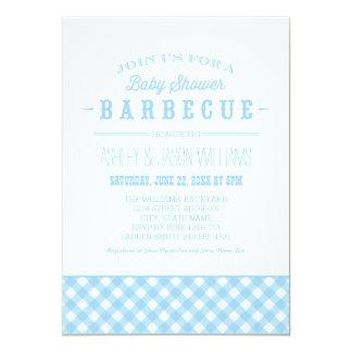 Baby Shower BBQ Invitation | Blue Gingham