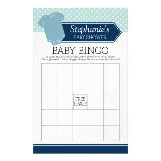 Baby Shower Bingo - Cute Boy Polka Dots Game 14 Cm X 21.5 Cm Flyer