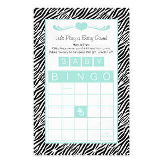 Baby Shower Bingo Game Chic Aqua Mint Zebra Custom Stationery