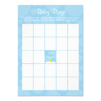 Baby Shower Bingo - Rubber Ducky Theme - Blue Card