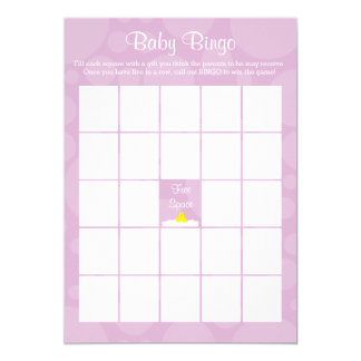 Baby Shower Bingo - Rubber Ducky Theme - Lilac Card