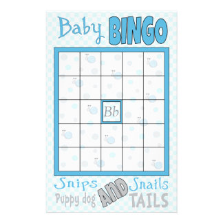 "Baby Shower BINGO ""Snips and Snails"" Flyer"