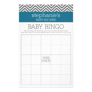 Baby Shower Bingo - Teal and Gray Chevrons Flyer
