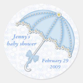 baby shower blue1, Jenny's baby shower, Februar... Classic Round Sticker