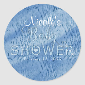 Baby Shower Blue Abstract Rain Drops Favor Classic Round Sticker