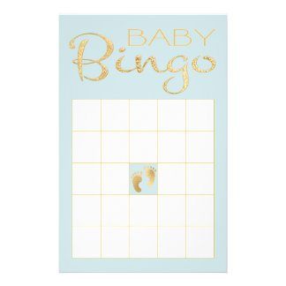 "Baby Shower BLUE BINGO ""Gold/Blue Classic"" Flyer"
