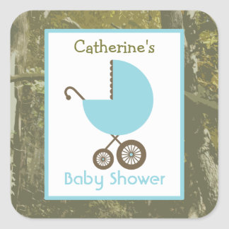 Baby Shower Blue Carriage & Camouflage Square Sticker