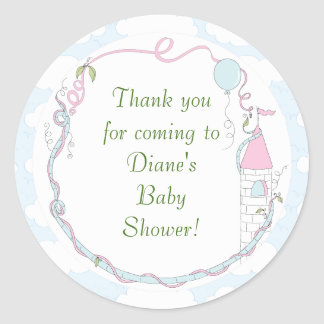 """Baby Shower Blue/Castle Stickers 1 1/2"""" or 3"""""""