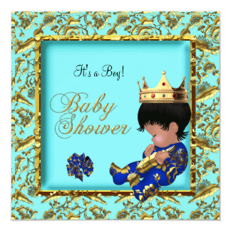Baby Shower Blue Gold Boy crown prince 13 Cm X 13 Cm Square Invitation Card