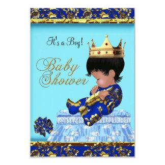 Baby Shower Blue Gold Boy prince 9 Cm X 13 Cm Invitation Card