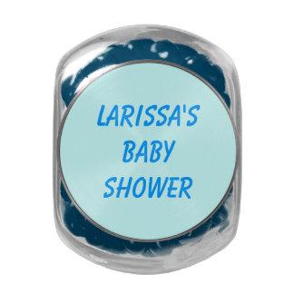 Baby Shower Blue Jelly Belly Jar Glass Jar